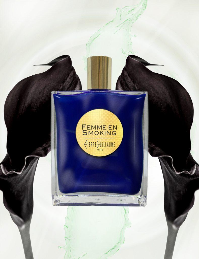 Parfum Femme en Smoking, floral, boisé épicé, calla noir, iris, miel, cèdre
